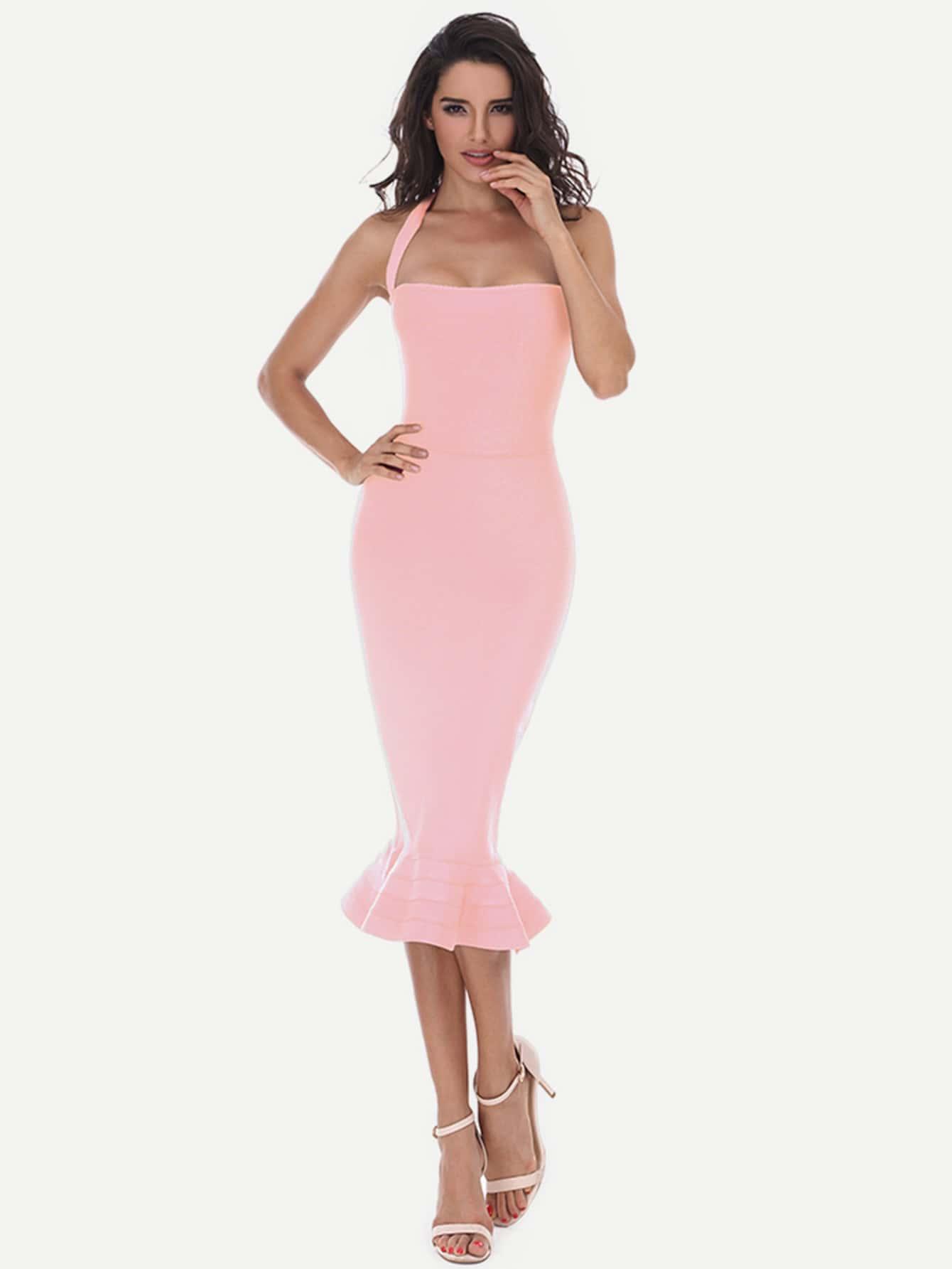 Фото Fishtail Hem Halter Bandage Dress. Купить с доставкой
