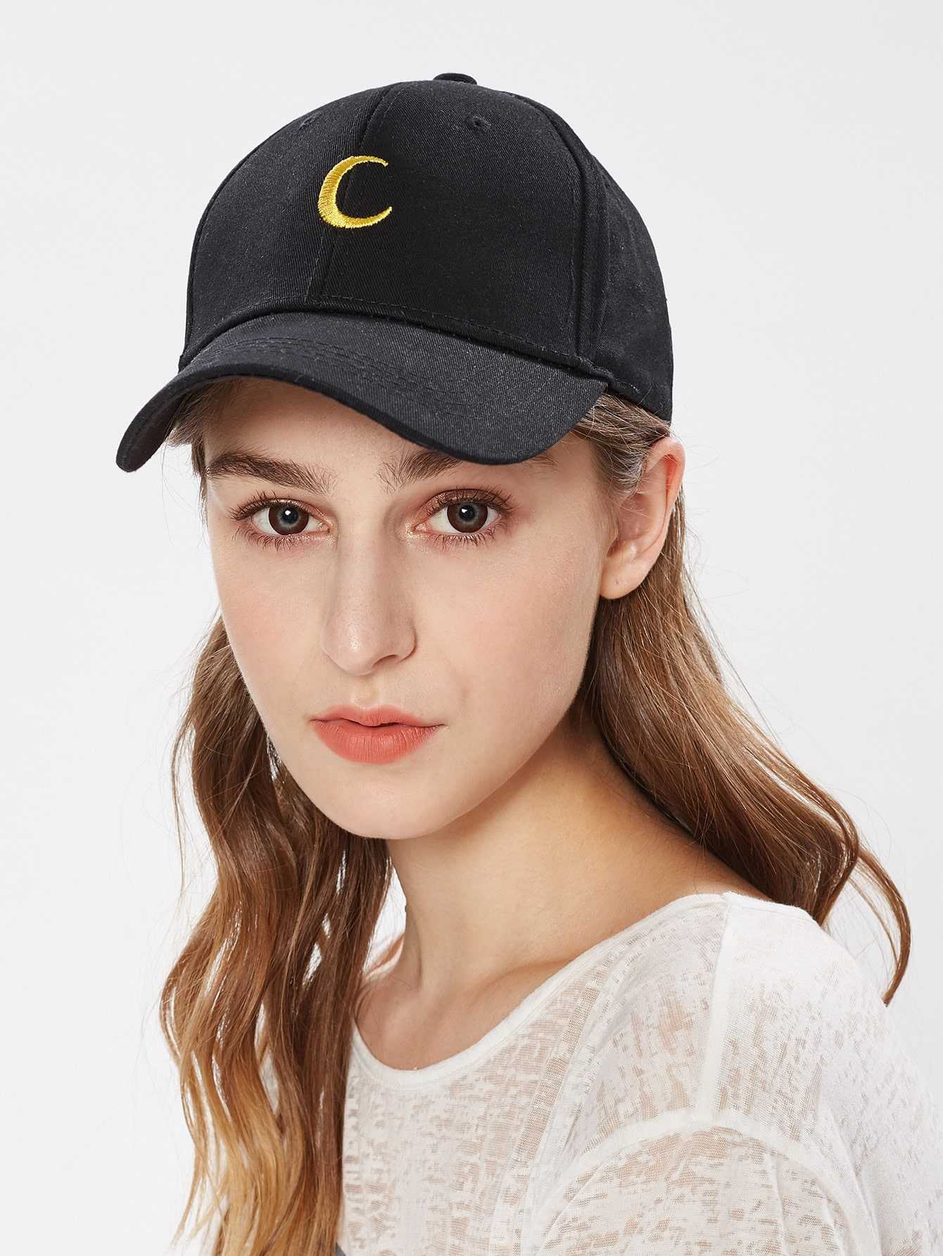 Contrast Moon Embroidery Baseball Cap