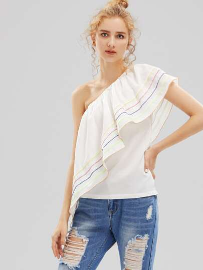One Shoulder Top With Exaggerated Frill