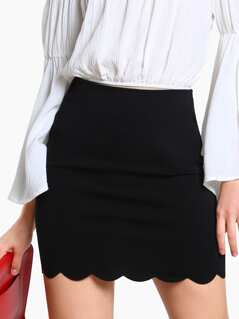 Scallop Edge Form Fitting Skirt
