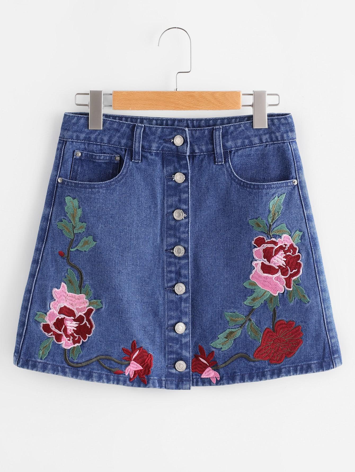 Фото Flower Embroidered Button Up Denim Skirt. Купить с доставкой