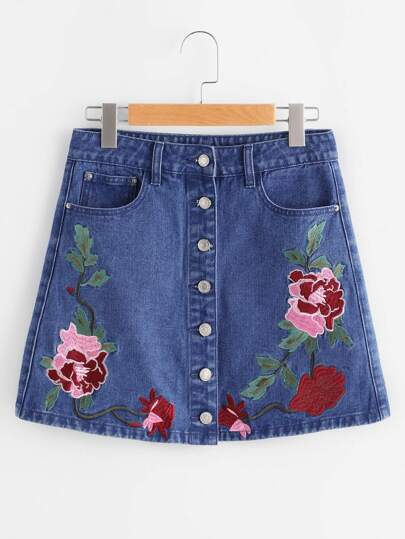 Flower Embroidered Button Up Denim Skirt