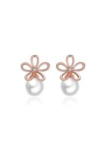 Faux Pearl And Flower Earrings