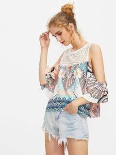Crochet Yoke Split Back Bell Sleeve Top