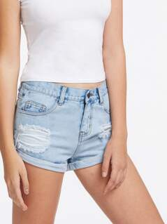 Light Wash Cuffed Denim Shorts