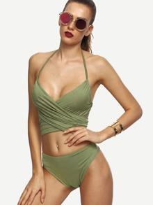 Olive Green Cross Wrap Halter Neck Bikini Set