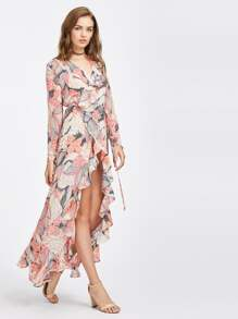 Frilled Surplice Wrap Dress