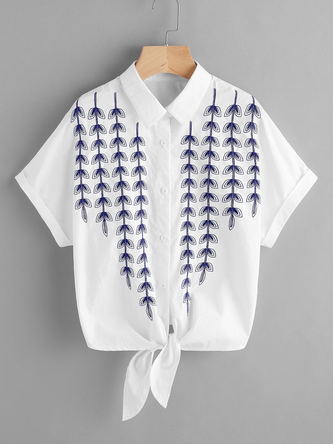 Фото Vine Embroidered Cuffed Sleeve Tie Front Blouse. Купить с доставкой