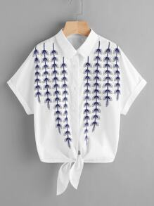 Vine Embroidered Cuffed Sleeve Tie Front Blouse