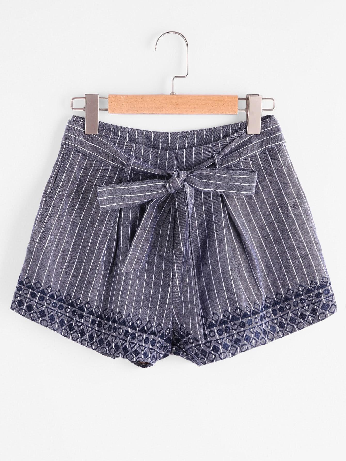 Фото Self Belt Embroidered Pinstripe Shorts. Купить с доставкой