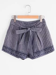 Self Belt Embroidered Pinstripe Shorts