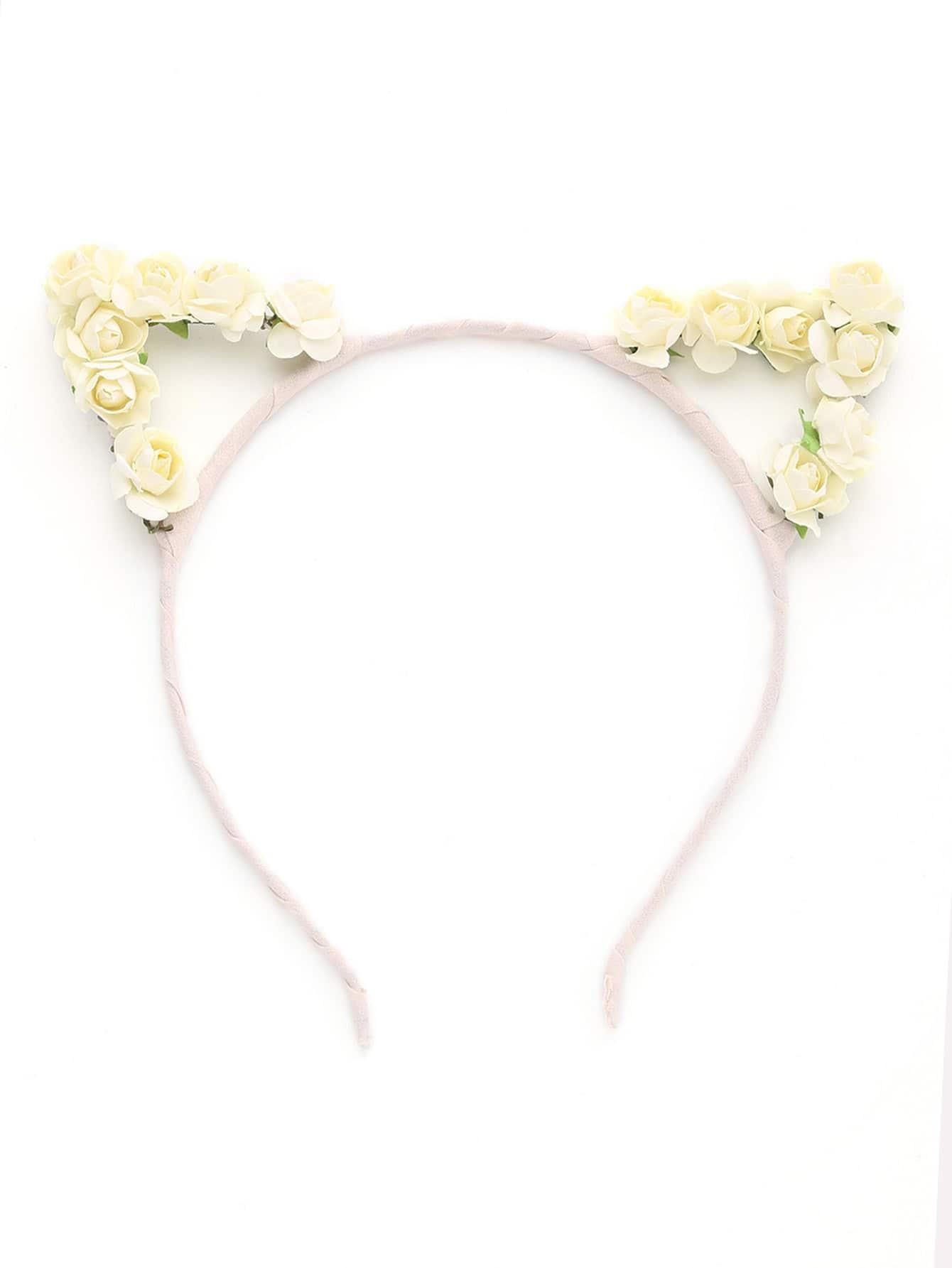 Фото Flower Embellished Cat Ear Headband. Купить с доставкой