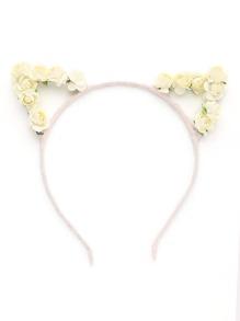 Flower Embellished Cat Ear Headband