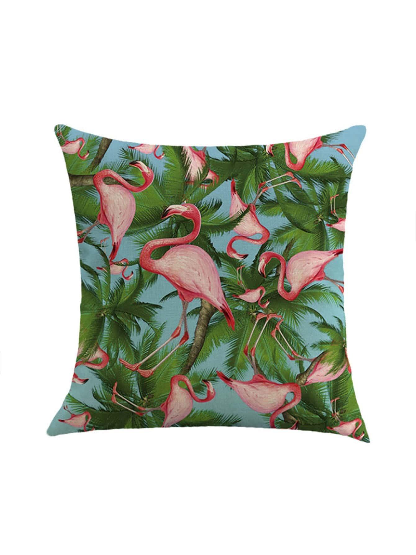 Фото Flamingo & Palm Tree Print Pillowcase Cover. Купить с доставкой