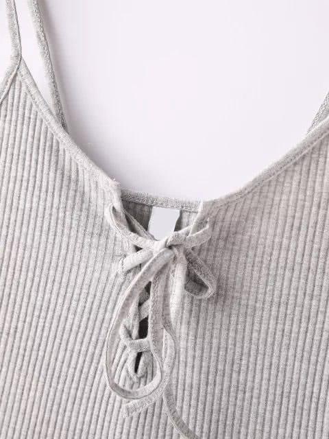 Grey Ribbed Lace Up Cami Top