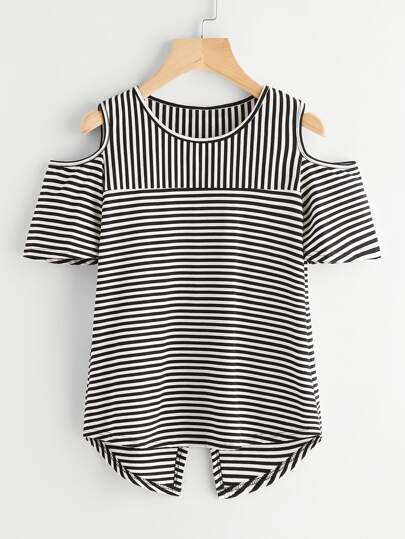 Contrast Striped Open Shoulder Overlap Back Tee