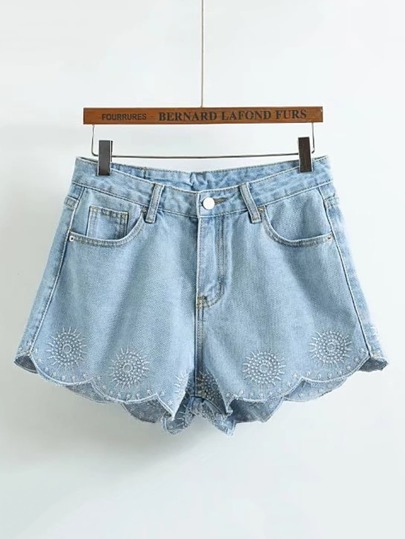 Wave Hem Embroidered Denim Shorts