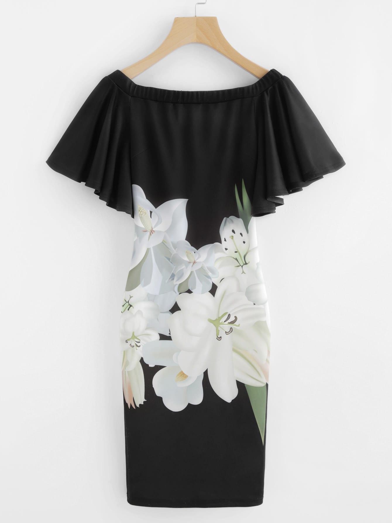 Flower Print Flutter Sleeve Bardot Dress