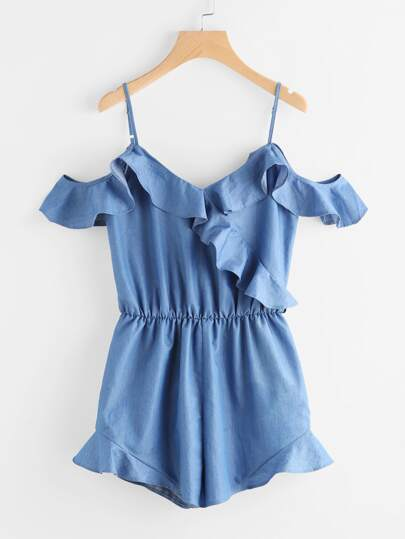 Frill Drape Cold Shoulder Surplice Chambray Cami Playsuit