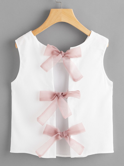 Bow Tie Split Back Tank Top