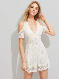Crisscross Back Embroidered Mesh Overlay Plunging Playsuit