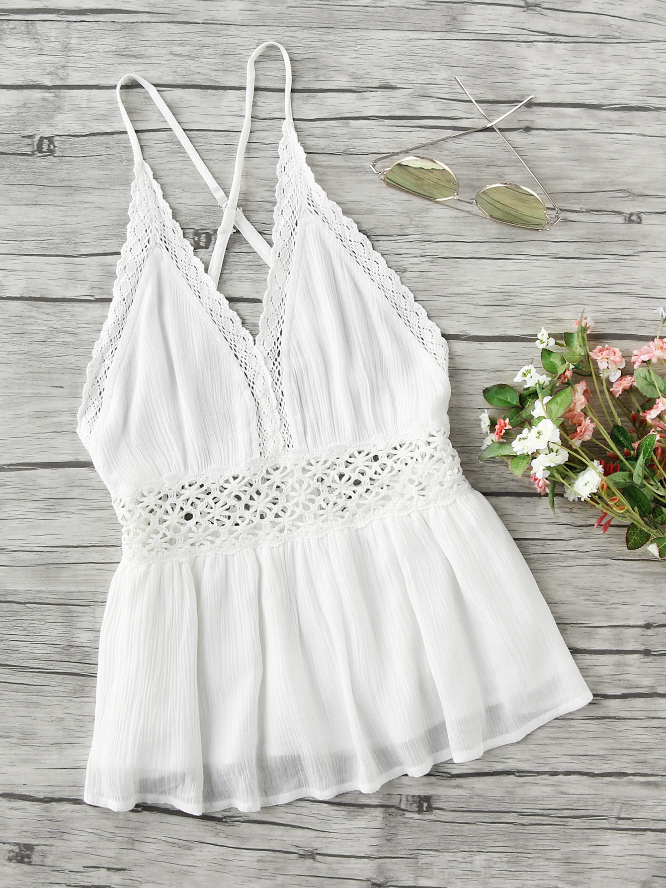 Lace Trim Criss Cross Backless Pleated Cami Top criss cross back self tie slub cami top