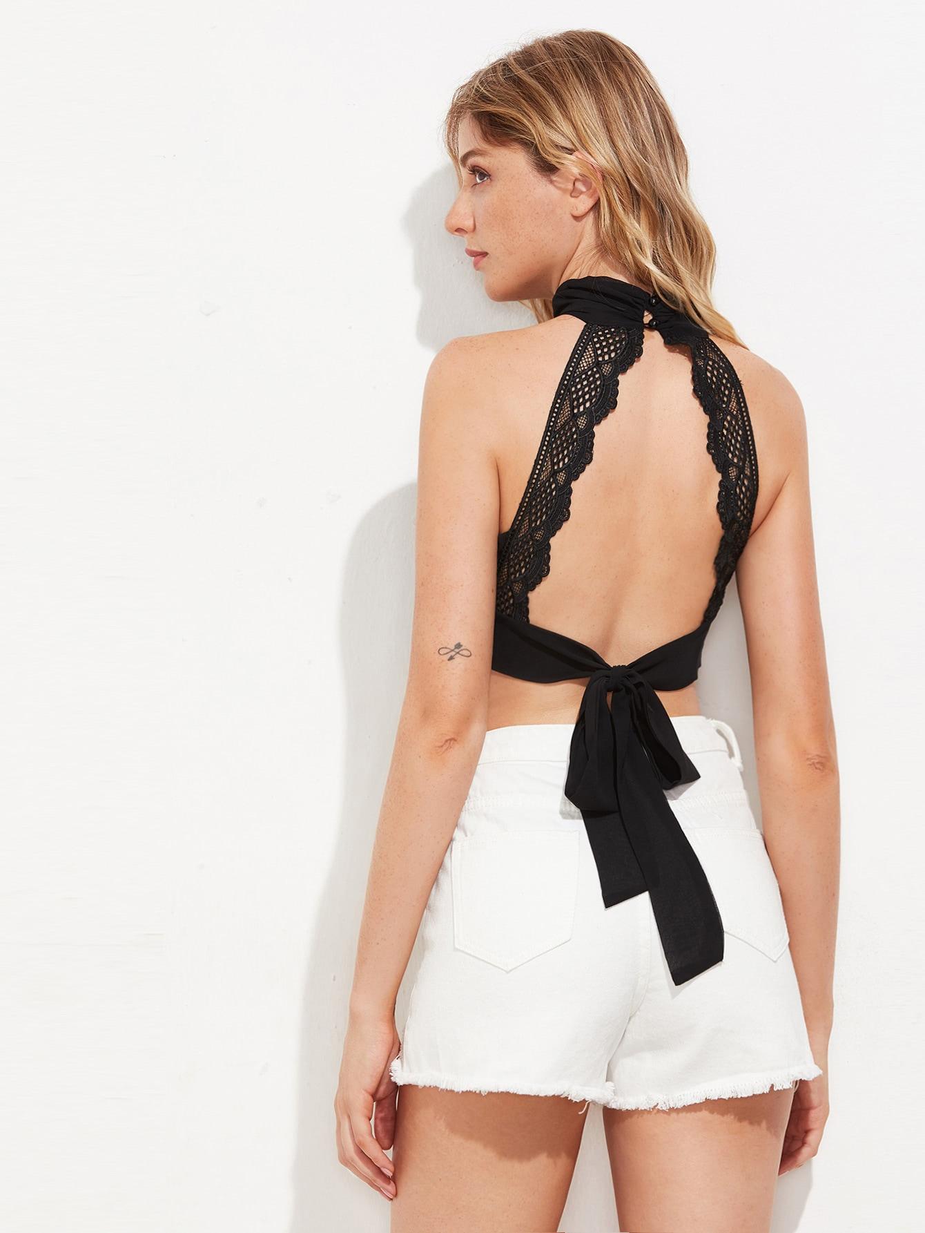 Keyhole Front Crochet Trim Backless Tie Detail Crop Top