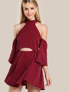 Choker Cold Shoulder Stripe Dress WINE
