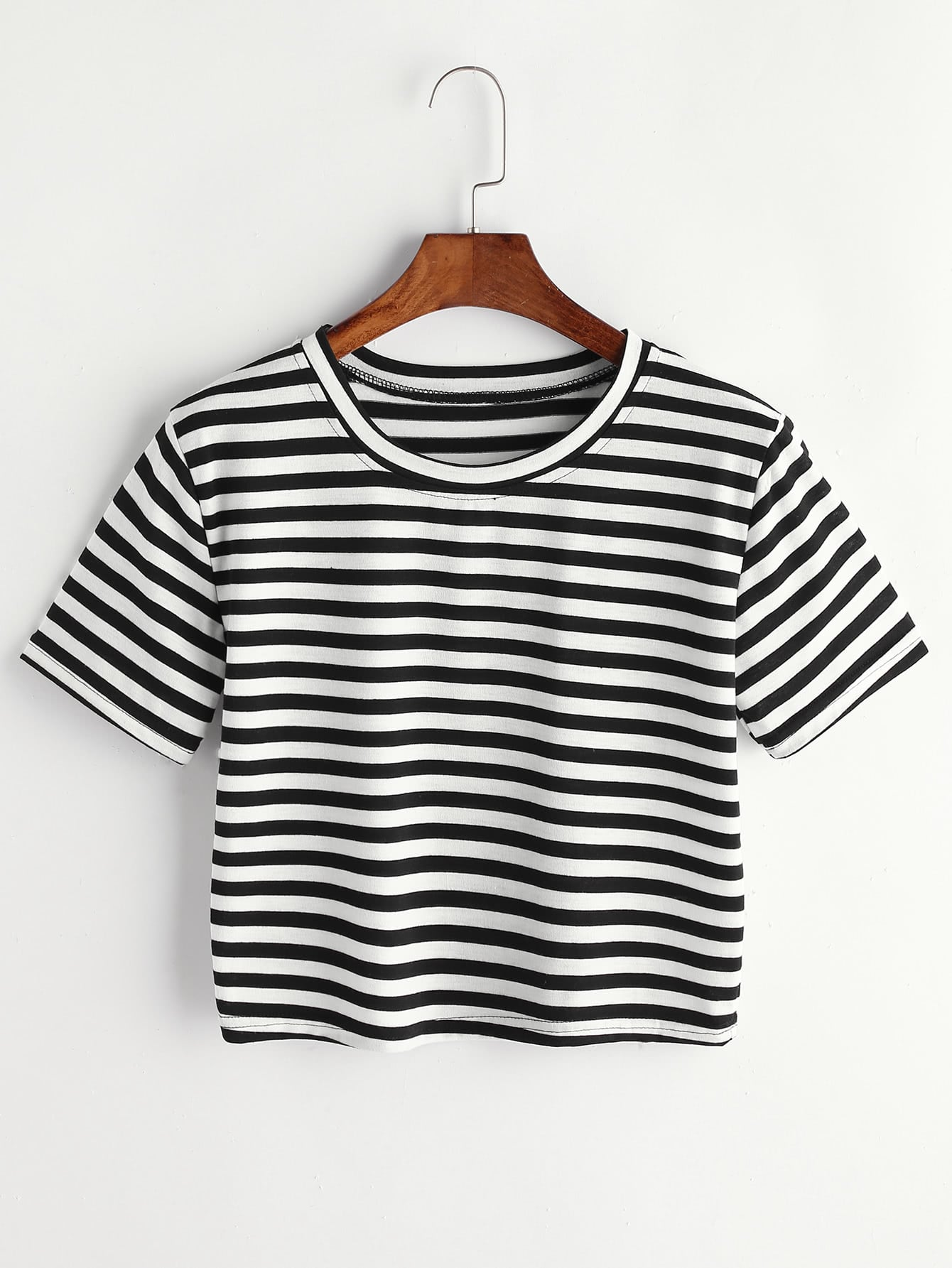 Contrast Striped Tee contrast striped trim camo print tee