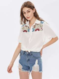 Flower Embroidered Yoke Cape Sleeve Semi Sheer Blouse