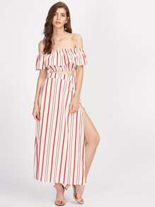 Vertical Striped Ruffle Crop Top With Split Skirt