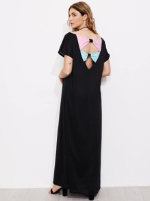 Contrast Bow Panel Open Back Full Length Dress