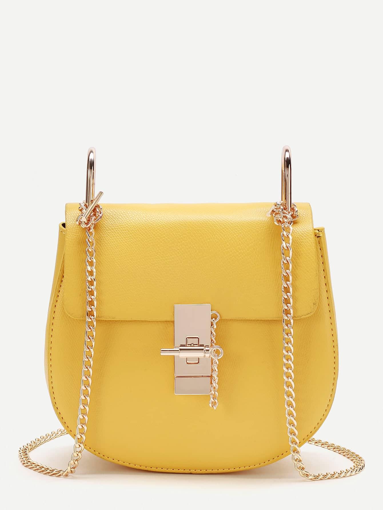 Фото PU Flap Saddle Bag With Chain. Купить с доставкой