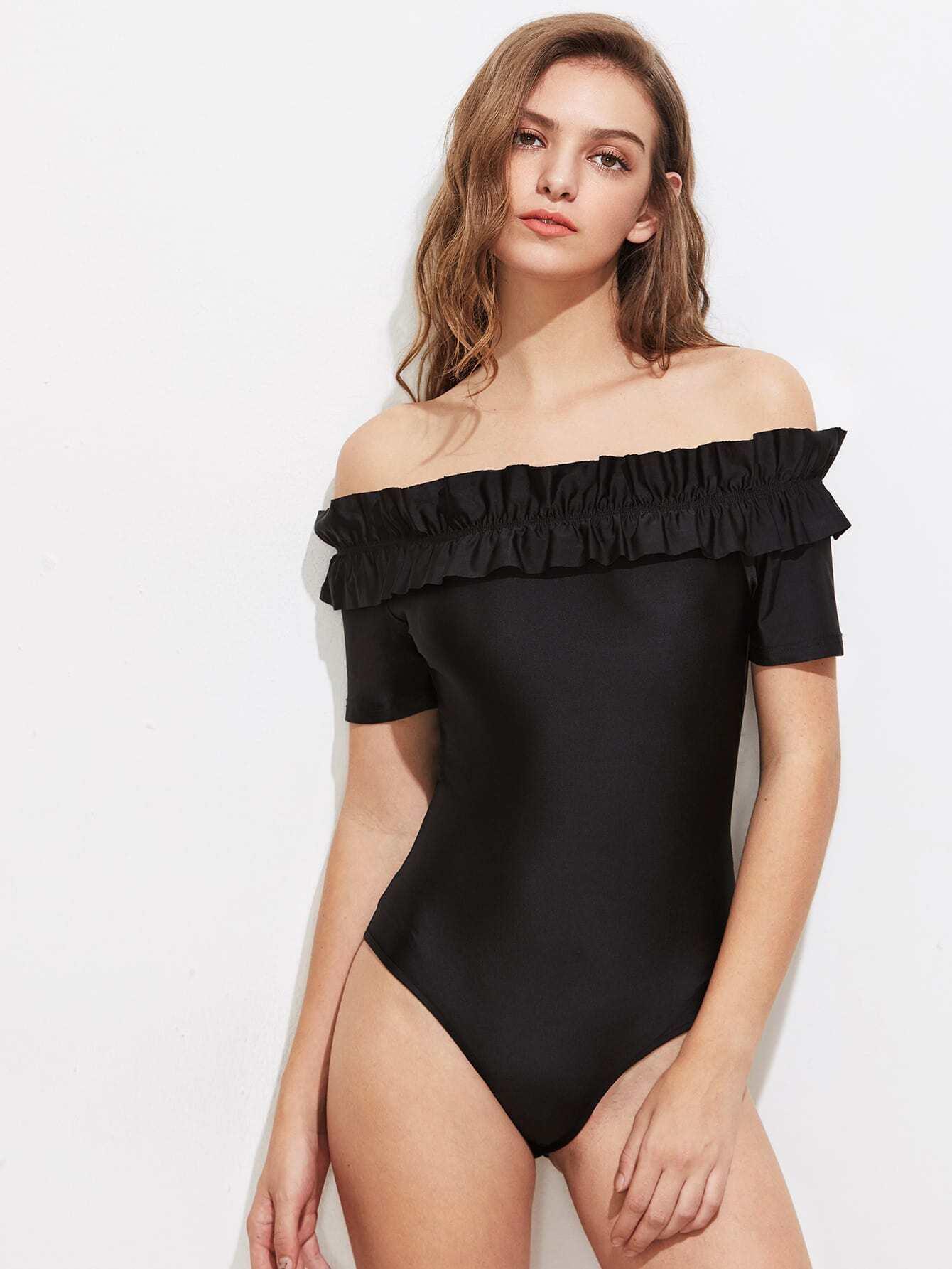 Фото Shirred Frill Trim Bardot Bodysuit. Купить с доставкой