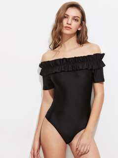Shirred Frill Trim Bardot Bodysuit