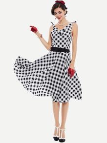 Checkered Tie Shoulder Draped Detail Circle Dress