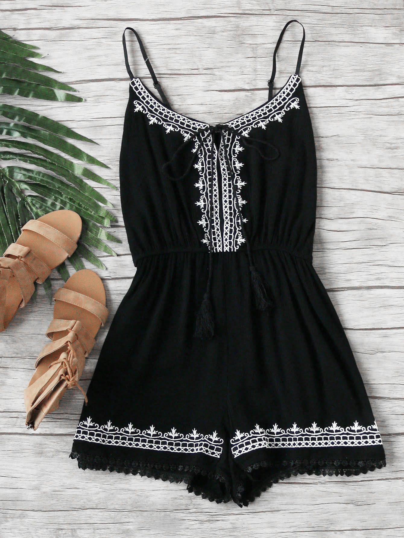 Embroidered Trim Self Tie Pleated Cami Romper