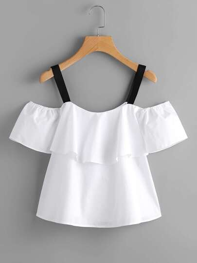 Open Shoulder Layered Contrast Strap Top