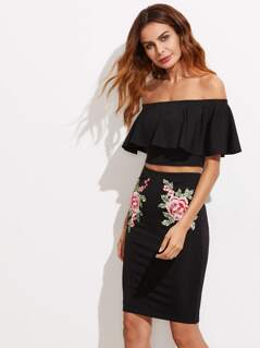 Flounce Bardot Top With Embroidery Applique Skirt