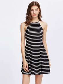 Striped Swing Racer Cami Dress