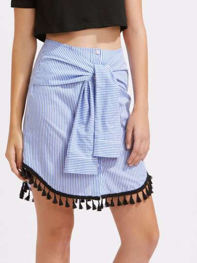 Tasseled Curved Hem Sleeve Tie Front Pinstripe Skirt pictures
