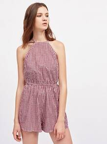 Racer Neck Strappy Open Back Gingham Playsuit