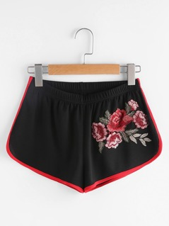 Embroidered Flower Applique Binding Detail Dolphin Shorts