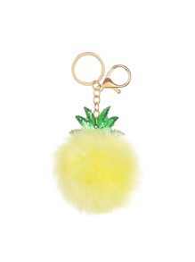 Pineapple Shaped Keychain With Pom Pom