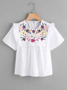 Embroidery Frill Detail Blouse
