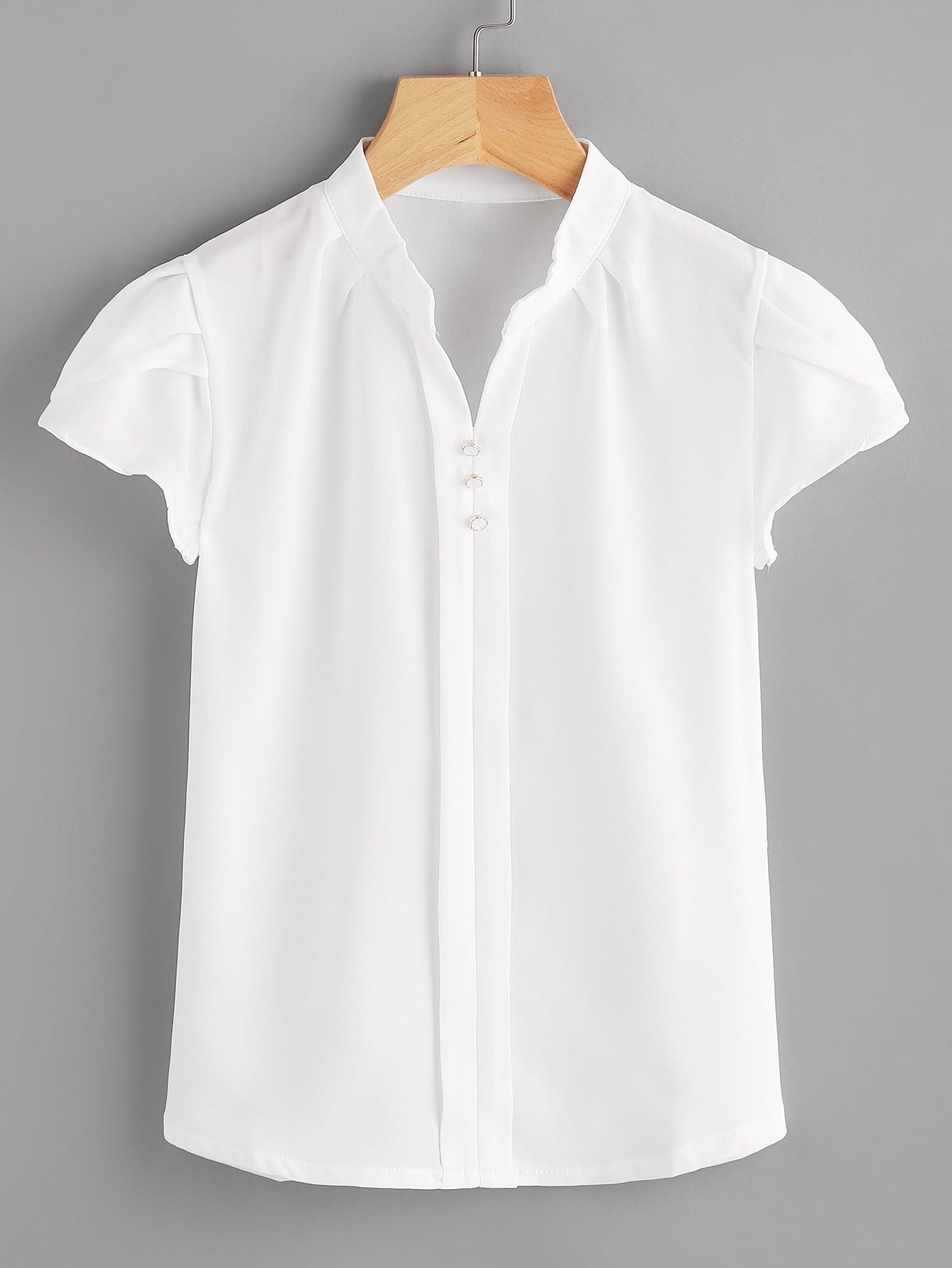 Фото Cap Sleeve Mandarin Collar Blouse. Купить с доставкой