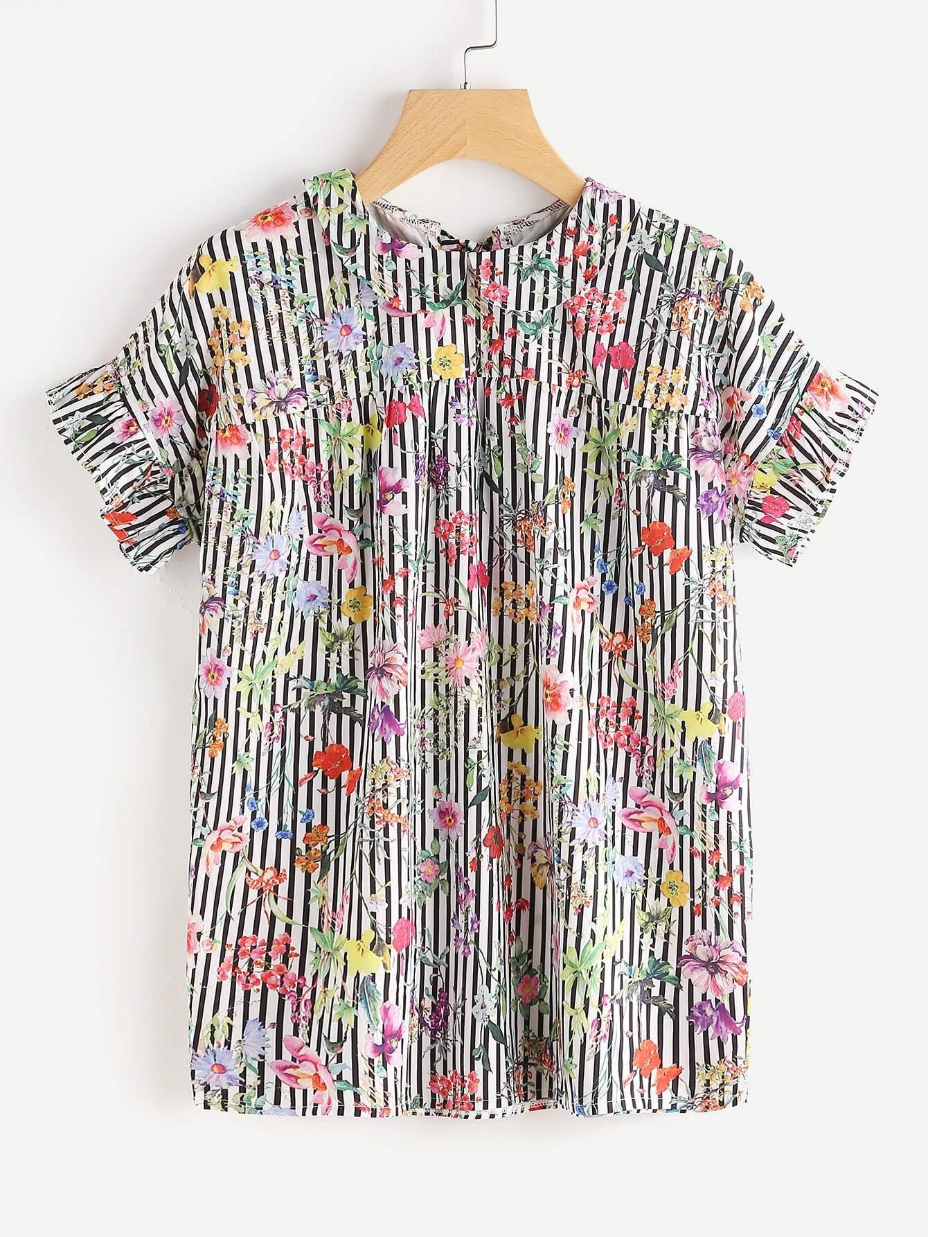 Фото Calico Print Frill Cuff Tie Back Striped Top. Купить с доставкой