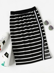 Ribbed Waist Slit Striped Skirt