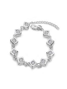 Bracelet design de métal carré en strass