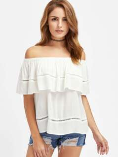 Ladder Lace Insert Crinkle Flounce Bardot Top